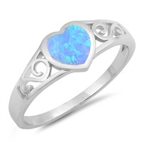Silver Lab Opal Ring - Heart Filigree - $4.81