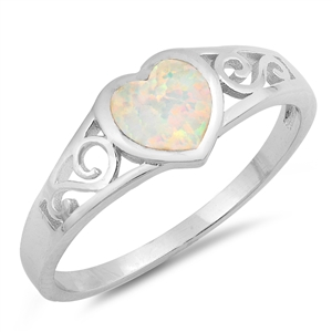 Silver Lab Opal Ring - Heart Filigree - $4.75
