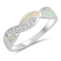 Silver Lab Opal Ring - Braid - $8.04