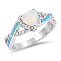 Silver Lab Opal Ring - Heart - $9.53