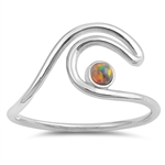 Silver Lab Opal Ring - Wave - $4.74
