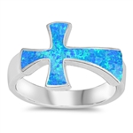Silver Lab Opal Ring - Cross - $9.49