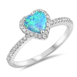 Silver Lab Opal Ring - Heart - $7.89