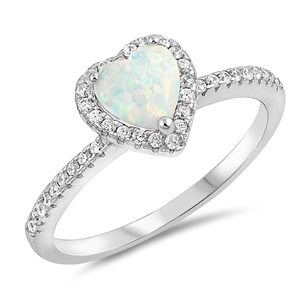 Silver Lab Opal Ring - Heart - $7.69