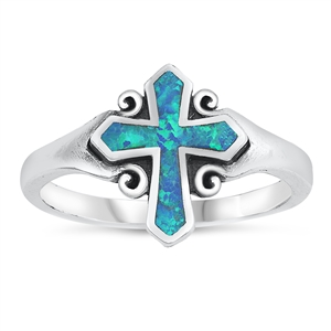 Silver Lab Opal Ring - Cross - $6.50