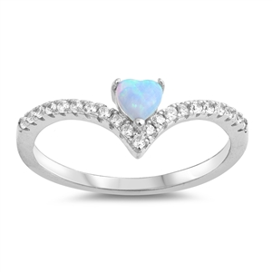 Silver Lab Opal Ring - Heart - $5.52