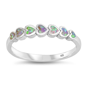 Silver Lab Opal Ring - Sideways Heart - $6.19