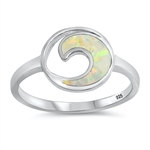 Silver Lab Opal Ring - Circle Wave - $6.15