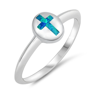 Silver Lab Opal Ring - Cross - $4.69