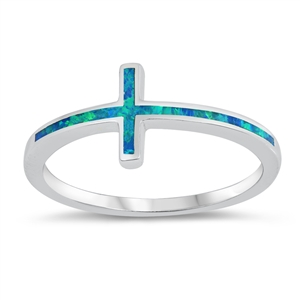 Silver Lab Opal Ring - Thin Cross - $5.75