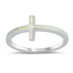 Silver Lab Opal Ring - Thin Cross - $5.67