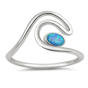 Silver Lab Opal Ring - Wave - $4.64