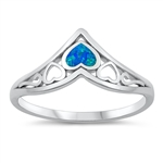 Silver Lab Opal Ring - Hearts - $4.84