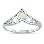 Silver Lab Opal Ring - Hearts - $4.77