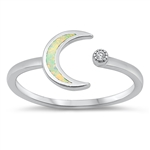 Silver Lab Opal Ring - Crecent Moon - $4.77