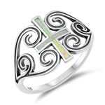 Silver Lab Opal Ring - Cross - $6.87
