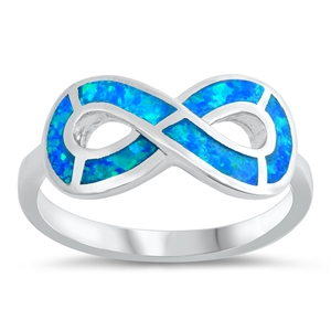 Silver Lab Opal Ring - Infinity Sign - $6.46