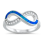 Silver Lab Opal Ring - Infinity Sign - $6.30