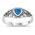 Silver Lab Opal Ring - Heart Filigree - $5.18