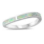Silver Lab Opal Ring - Wavy Band - $6.05