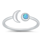 Silver Lab Opal Ring - Moon