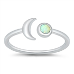 Silver CZ Ring - Crescent Moon - $3.96