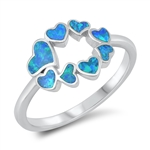 Silver Lab Opal Ring - Hearts - $6.99