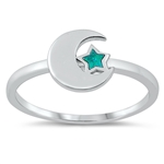 Silver Lab Opal Ring - Moon and Star - $4.73