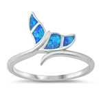 Silver Lab Opal Ring - Whale Tail