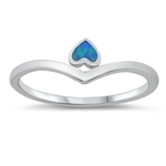 Silver Lab Opal Ring - Heart - $3.65