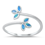 Silver Lab Opal Ring - Leaves - $5.52