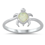 Silver Lab Opal Ring - Turtle - $4.70