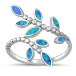 Silver Lab Opal Ring - Leaves - $7.46