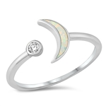 Silver Lab Opal Ring - Crescent Moon - $4.97