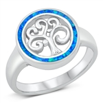 Silver Lab Opal Ring - Tree of Life - $9.85