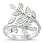 Silver Lab Opal Ring - Fern Leaves - $8.78