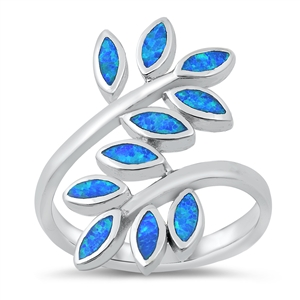 Silver Lab Opal Ring - Leaves - $11.86
