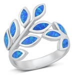 Silver Lab Opal Ring - Leaves - $11.14