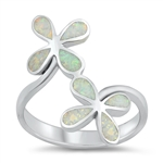 Silver Lab Opal Ring - Flowers - $8.88