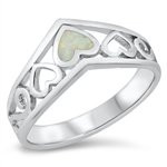 Silver Lab Opal Ring - Filigree Heart - $6.99