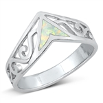 Silver Lab Opal Ring - V Shape - $7.93
