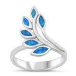 Silver CZ Ring - Leaves - $9.86
