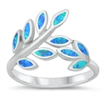 Silver Lab Opal Ring - Leaves - $8.31