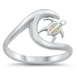 Silver Lab Opal Ring - Turtle and Wave - $5.20