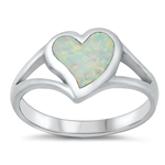 Silver Lab Opal Ring - Heart - $6.95