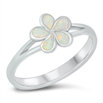 Silver Lab Opal Ring - Plumeria Flower - $5.95