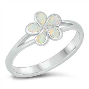 Silver Lab Opal Ring - Plumeria Flower - $6.86