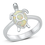 Silver Lab Opal Ring - Turtle