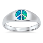 Silver Lab Opal Ring - Peace Sign