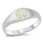 Silver Lab Opal Ring - Peace Sign - $8.53